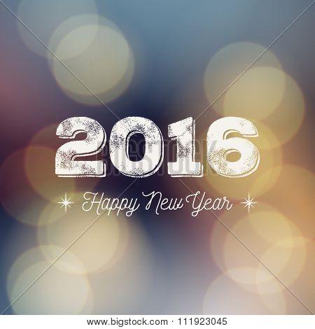 Happy New Year 2016 greeting card. Vector ink stamp effect, bokeh background, festive defocused lights.