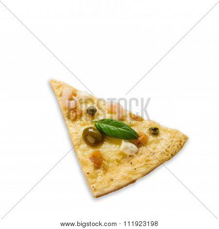 Delicious Seafood Pizza Piece With Olives