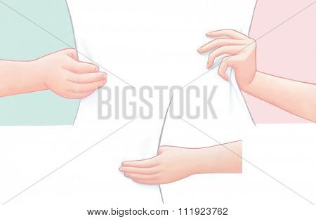 Male and female  outlined hands holding a blank sheet of paper. Ideal for web backgrounds and content placement.