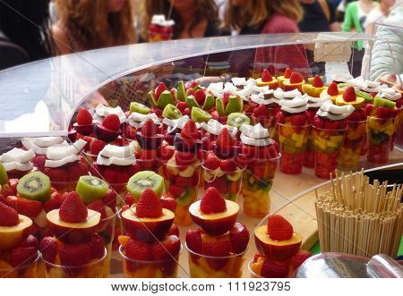 Fruit Salad Served In Cups