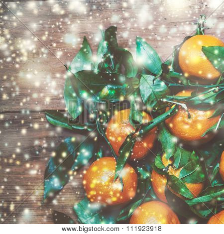 New Year, Christmas Card With Fresh Clementines Or Tangerines  With Festive Lights