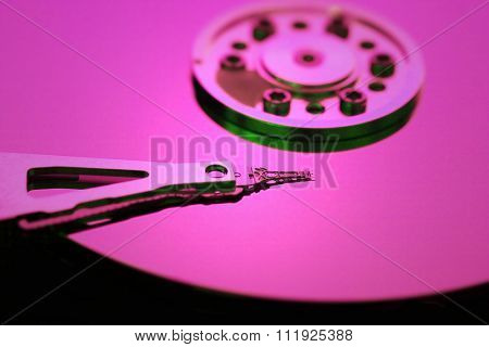 Hard disk detail with a blue light
