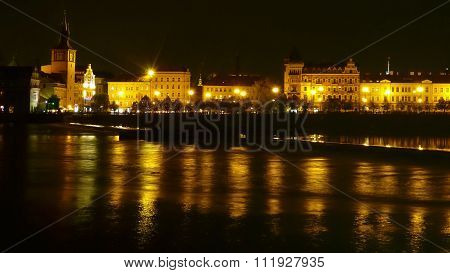 Night Panorama Of Prague With The River