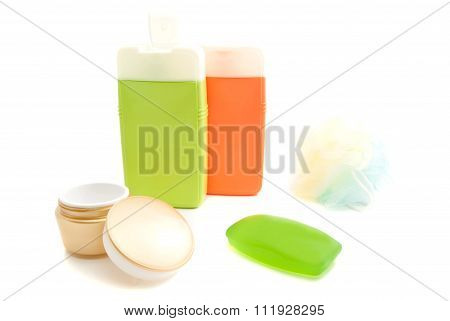 Jar Of Cream And Other Toiletry On White