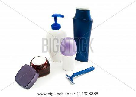 Gel, Shampoo, Blue Razor, Cream And Deodorant