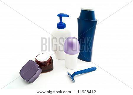 Shampoo, Razor, Cream And Deodorant