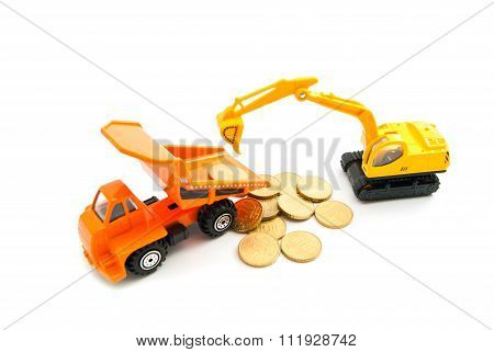 Euro Coins, Backhoe And Orange Truck
