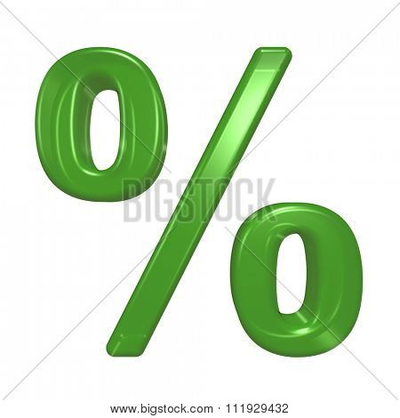 Percent sign from green glass alphabet set, isolated on white. Computer generated 3D photo rendering.