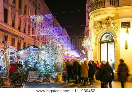 People Enjoying Advent In Zagreb