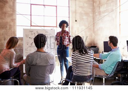 Group Of Designers Having Brainstorming Session In Office