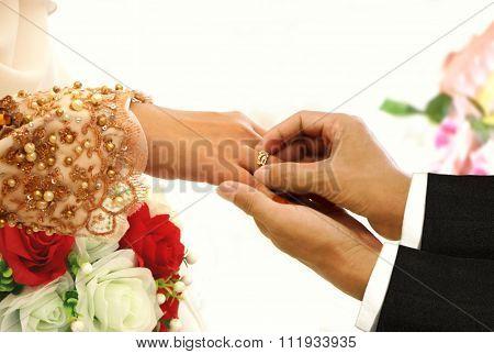 Wedding Ring Exchange Ceremony Between Bride And Groom