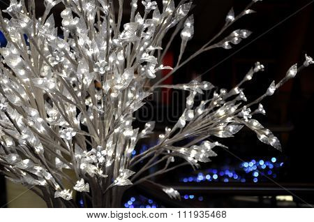 White Bush With Glowing Lights.