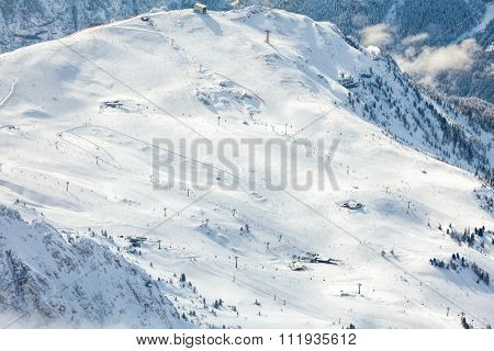 Aerial view of ski resort area in the  Dolomites, Italy
