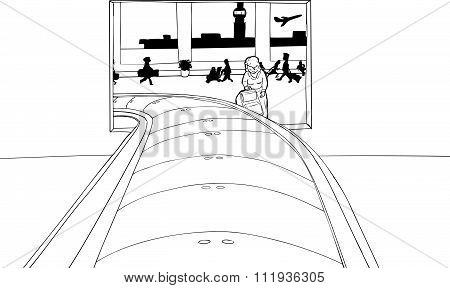 Outline Of Woman Framed In Baggage Claim