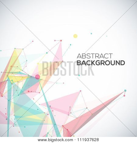 Vector geometric background with polygonal abstract shapes, circles, lines, triangles.