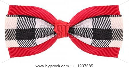 Hair bow tie red with plaid black white details