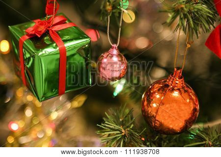 christmas decorations or christmas tree light prepare for celebrate day, abstract Bokeh light good