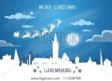Santa Claus Sleigh Reindeer Fly Sky over Luxembourg City Silhouette Night