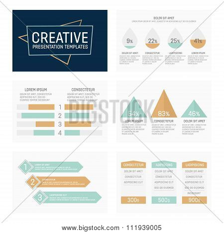 Vector template for multipurpose presentation slides with graphs and charts.