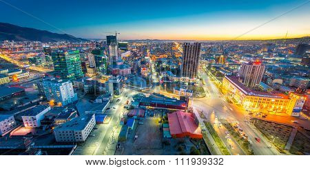 Ulaan-baator, Mongolia - May 16, 2015: Night View At The Streets Of The Capital Of Mongolia.