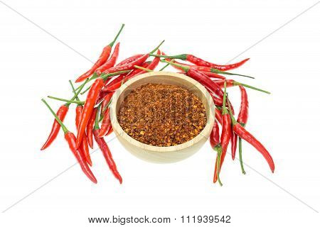 Fresh Red Thai Hot And Cayenne Pepper Isolated On White