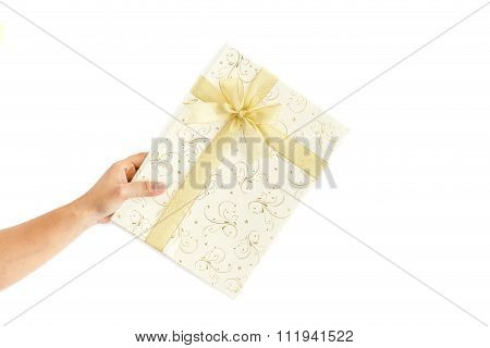 Hand Holding Gift Box  Isolated On White