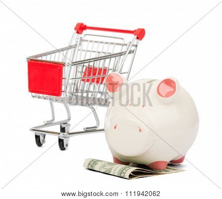 Shopping cart and Piggy bank, business concept