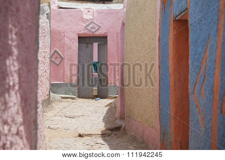colorful walls in the city of Harar, Ethiopia. Harar is Islam's fourth holiest city.