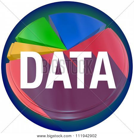 Data word with long shadow over a pie chart of statistics, research, findings or information