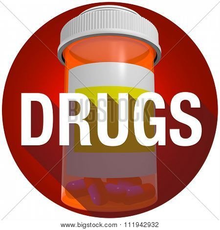 Drugs word with long shadow on an orange medicine bottle to illustrate a cure or treatment for your disease or illness