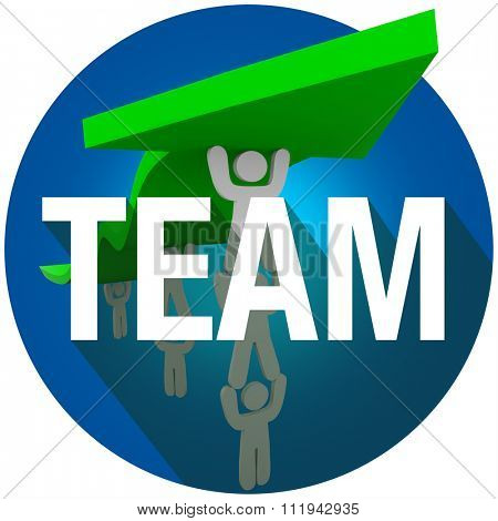 Team word with long shadow over a group of people working together to lift an arrow and achieve a goal