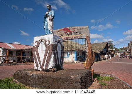 Hanga Roa, Ester Island, Chile - November 8, 2015: The Center Of
