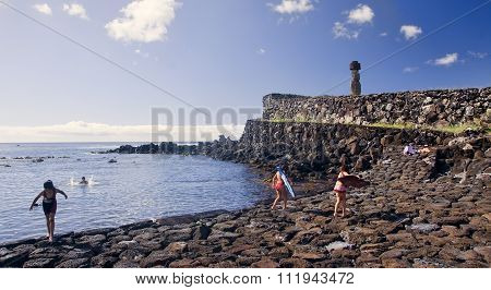 Hanga Roa, Ester Island, Chile - November 8, 2015: Tourists In H