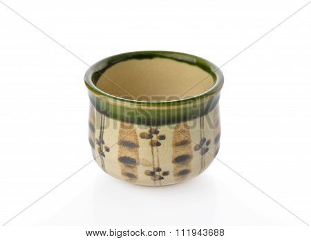 Coated And Painted Tea Cup On White Background