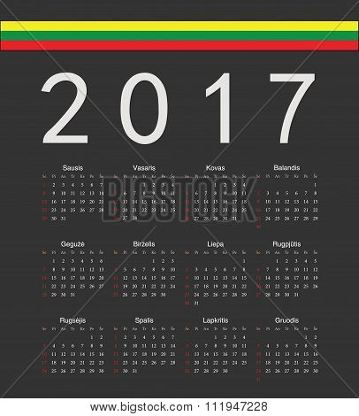 Square Black Lithuanian 2017 Year Vector Calendar