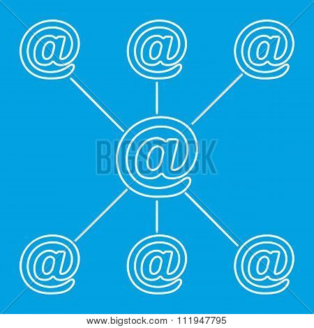E-mail spreading line pictogram
