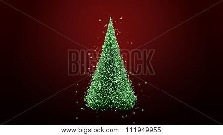 Glowing Green Christmas Tree With Sparkles