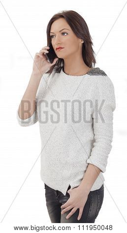 Portrait Of A Young Woman On A Mobile Phone