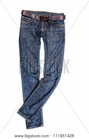 A Blue Jeans trousers on white background