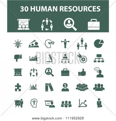 human resources icons, human resources concept, business human resources , management icons, signs vector concept set