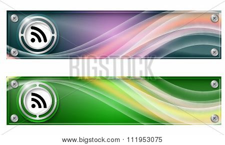 Two Narrow Horizontal Abstract Wave Banners