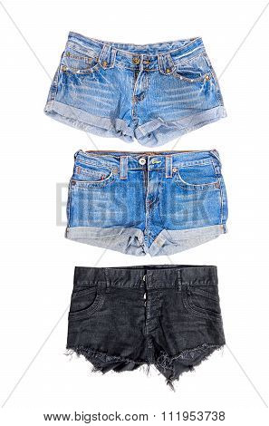Shorts Blue Jeans Trousers On White Background