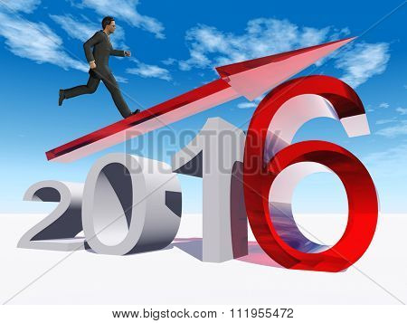 Conceptual 3D human man businessman standing over an red 2016 year symbol with an arrow on blue sky for economy, finance, corporate, growth, future, goal, progress, success improvement profit designs