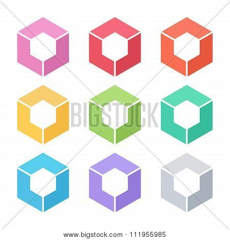 Set of abstract cube vector template. Corner geometric shape and symmetric symbol.