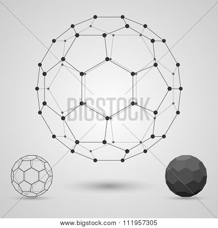 Framework Of Volume Geometric Shapes With Edges And Vertices. Communication Scientific Concept.