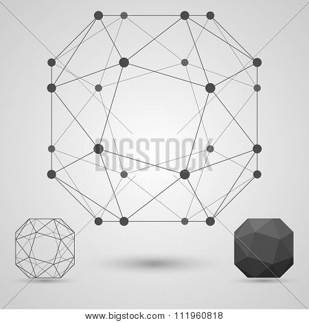 The Structure Of The Blank Geometric Shapes With Edges And Vertices. Business Research Concept.