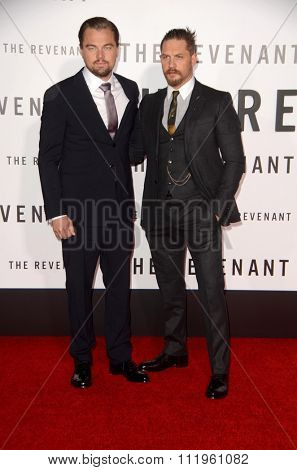 LOS ANGELES - DEC 16:  Leonardo DiCaprio, Tom Hardy at the The Revenant Los Angeles Premiere at the TCL Chinese Theater on December 16, 2015 in Los Angeles, CA