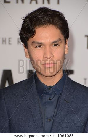 LOS ANGELES - DEC 16:  Forrest Goodluck at the The Revenant Los Angeles Premiere at the TCL Chinese Theater on December 16, 2015 in Los Angeles, CA
