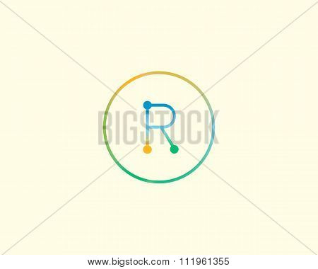 Abstract letter R logo design template. Colorful lined creative sign. Universal vector icon.