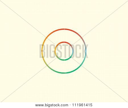 Abstract letter O logo design template. Colorful lined creative sign. Universal vector icon.